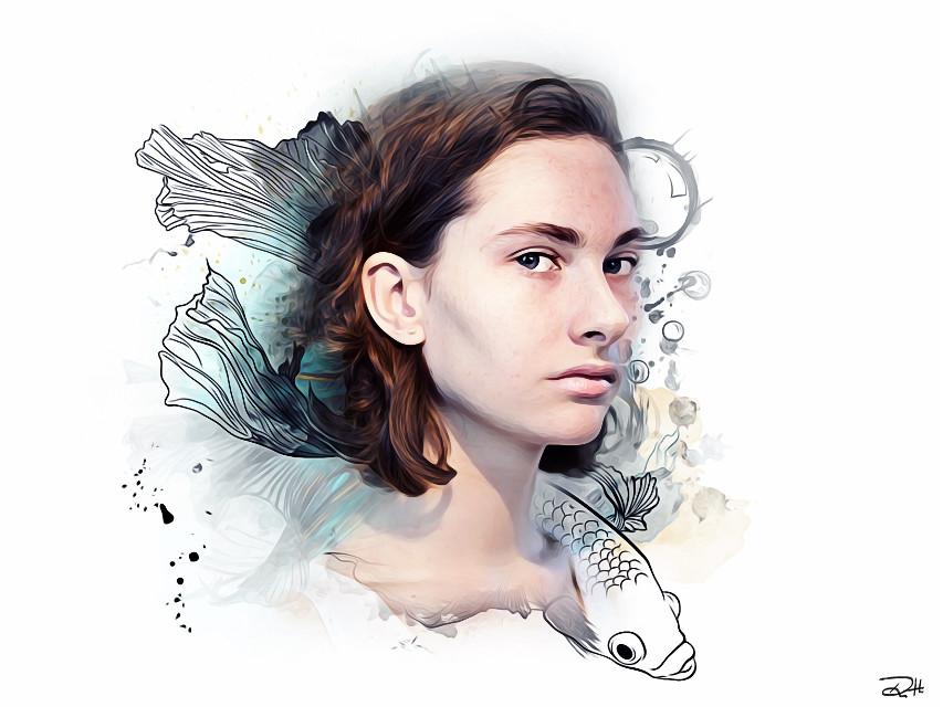 F I S H 🕊🕊🕊  #FreeToEdit #art #edited #clipart #remix #oilpaintingeffect #portrait #fish #people #woman #girl #emotions