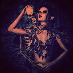 love skull girl cute black
