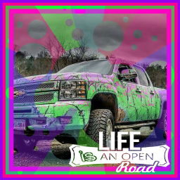 freetoeditremix bymyself colorfully camo truck freetoedit