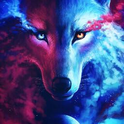 moon wolf blue pink galaxy celestial FreeToEdit